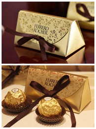 Gold Christmas Candy Gift Bags Australia - Free Shipping 100pcs Wedding Favor and Gifts Baby Shower Paper Candy Box Ferrero Rocher Boxes Wedding Favors Gold Sweet Gifts Bags Supplies