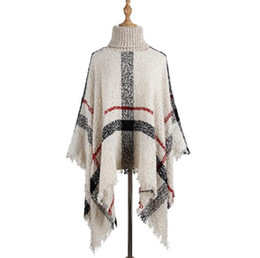 Pullover shawl online shopping - Tassel Cloak Shawl Colors Women Sweater High Collar Knitted Pullover Poncho Cape Loose Scarf Shawls LJJO7205