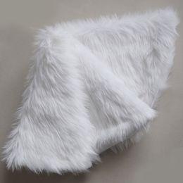 White Faux Fur Shorts Australia - Free Shipping Faux Fur Christmas Tree Skirt Snowy White Tree Skirt for Christmas Decorations with polar fleece backing
