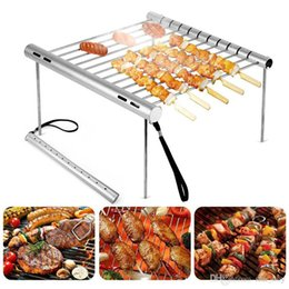 stainless steel charcoal barbecue grills NZ - Portable Stainless Steel BBQ Grill Folding BBQ Grill Mini Pocket BBQ Grill Barbecue Accessories For Home Park Use