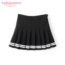 bb93f45f5a Girls Black School Skirts Australia - Aelegantmis Sweet Pleated Skirt Women  Preppy Style Mini High Waist