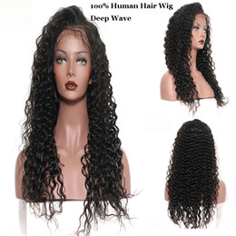 Human Hair Wigs 28 Inches NZ - Deep Wave Lace Frontal Wigs with Baby Hair Peruvian Indian 100% Virgin Human Hair 150% Density Natural Color 8-28 inches