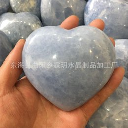 druzy crystals UK - Rare Energy Hand Rough Stones Peach Love Heart Shaped Crystal Natural Ice Sky Blue Celestine Druzy Reiki Stone 55ly BB