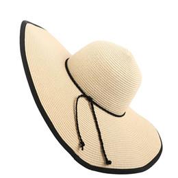 aa31bfbabe65d Tejer Sombrero de paja Color de contraste Gorras de playa de verano Visor  Sombreros Damas anchos y plegables Viajes Sombrero para el sol Chapeau  Femme Ete