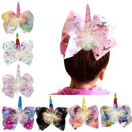 China Unicorn print Barrettes Bow Hair Clip cartoon Hair Bow With Clip kids Hair Accessories baby cosplay Bronzing Sequin headwear MMA2121 supplier animal hair bows ribbon suppliers