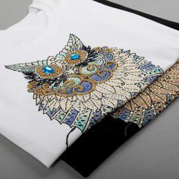 $enCountryForm.capitalKeyWord Australia - 2019 Fashion Vintage Summer T Shirt Women Clothing Tops Beading Diamond Sequins Animal Owl Print T-shirt Woman Clothes Plus Size Y190513