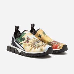 Floor paints online shopping - 2020 Luxury Women Designer Sorrento Sneakers stretch mesh with painted heel logotape print Tropical Bird of paranise slip on Mens Trainers