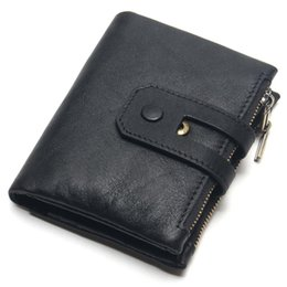 Practical Gifts Men NZ - Bifold Double Zipper Practical Gift Large Capacity Artificial Leather Card Holder Men Wallet Anti-theft Portable Purse Retro