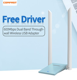 Ethernet Cf Card Australia - Free Driver High Power Network Card Wireless 600Mbps Dual Band Desktop PC WiFi Adapter 5.8Ghz With 2*6dBi Antennas CF-WU781A