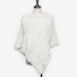 Solid Cotton Shawl Australia - Women's Real Rabbit Fur Irregular Hem Poncho 2018 Winter Female Fashion Sleeveless Cape Lady Knitted Solid Triangle Fluffy Shawl