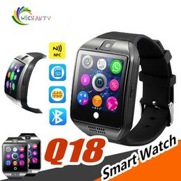 nfc wristbands NZ - Q18 Smart Watch Bluetooth Wristband Smart Watches TF SIM Card NFC with Camera Chat Software for IOS Android Cellphones with Retail Box
