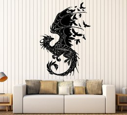 3d Dragon Stickers Australia - Dragon Silhouette Vinyl Wall Stickers Birds Fantasy Fairytale Gothic Abstract Wall Sticker Decor Living Room Art Decal SA152
