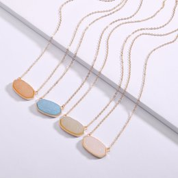 Druzy Pendant Free Ship Australia - 2019 Free Shipping 7 colour Druzy Drusy necklace Resin Stone Kendra Scott Necklaces Message Mixed Colors Geometric Jewelry