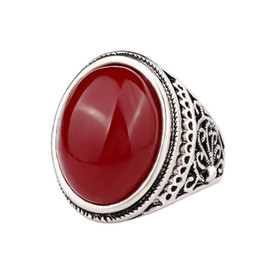 Silver Black Red Australia - Round Gem Ring Red & Black Classic Jewelry Rattan Flowe Pattern Simple Style Silver Men Gifts -P