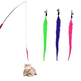 Stick Fish Australia - 1Pack Funny Cat Toys Interactive Elastic Rod Chick Fish Mascotas Pets Toys With Bells Fishing Stick Random Color Feather