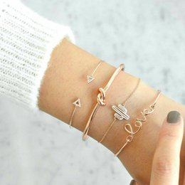 Wholesale 4pcs set Exquisite Simple Knot Love Gold Opening Bracelet Set Vintage Beautiful Leaf Arrow Bangle Cuff Bracelets Causal Women Jewelry Access