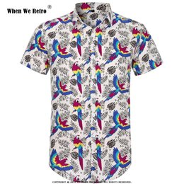a5834bd4dff3dc When We Retro Short Sleeve Men Shirt Parrot Palm Print Summer Beach  Hawaiian Shirt Floral Shirts Men Casual Holiday Clothing