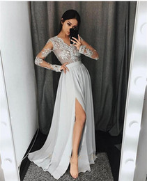 petite chiffon dresses NZ - Silver Grey sheer Long Sleeves Prom Dresses Long V Neck Appliques Lace chiffon Formal Party Gowns With High Split Modest Evening gowns