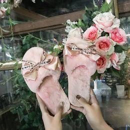 $enCountryForm.capitalKeyWord Australia - Women Plush Home Slippers with Faux Fur Warm Shoes Woman Slip on Flats Cute Bowtie Female Slides Plus Size 41