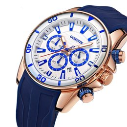 mens rose gold chronograph UK - Fashion Man Sports Watches Analog Quartz Wrist Watch Mens Business Clock Rose gold silicone Sport Watch relogio masculino
