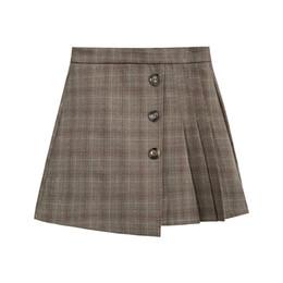 1abcf2400 High Waist Plaid Skirt Female 2019 Spring New Korean Version Of The Word  Skirt Black Slim Pleated Short Student Skirt