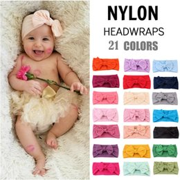 headbands bow Canada - baby nylon bowknot headband colorful Bohemia style hair band super soft elastic infant bow wide headwrap toddler girls hair accessories pink