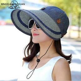 Women Floppy Hat Australia - Bingyuanhaoxuan Large Wide Brim Floppy Beach Sun Cap Button Straw Hat Summer Hats For Women Anti-uv Visor C19041001