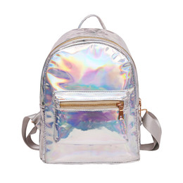 $enCountryForm.capitalKeyWord UK - Small hologram backpack laser holographic bag mochila feminino silver multicolor primary school leather daypack zaino