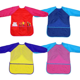 Discount kids paint smocks painting apron for Kids Art Smocks Children Artist Painting Aprons Waterproof Long Sleeve with 3 Pockets for Boys and Gi