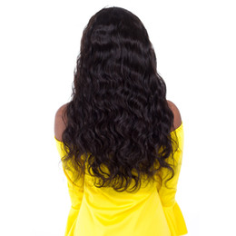 virgin hair wigs for sale Canada - Unprocessed smooth pure remy raw virgin human hair natural color body wave long full front lace top wig for sale