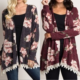 floral trench coat women Australia - 2019 Women Lace Long Trench Coats Floral Print Loose V Neck Casual Spring Autumn Outerwear Jackets Windbreaker Coat Blouse S-2XL