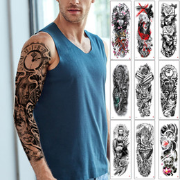 tattoo designs for legs NZ - Fake Large Tattoo Full Arm Sleeve Leg Body Paint Warrior Buddha Angel Waterproof Temporary Tattoo Sticker Sketch Person Design for Men Women
