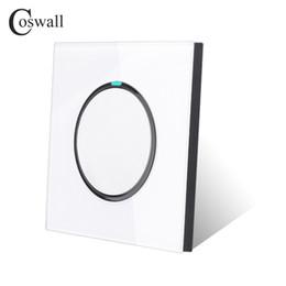 Großhandel Coswall neue Ankunfts-Kristallglas-Verkleidung 1 Gruppe 2 Way Zufall Klicken Sie Push Button Wandlichtschalter mit LED-Anzeige