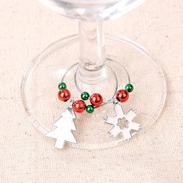 silver charm wine glass UK - 6pcs set Party Supplies Christmas Wine Glass Mark Wine Glass Charms Glassware Ornaments Cup Ring Xmas Pendants Table Decorations