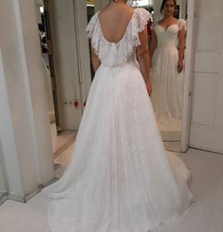 Simple Lace Wedding Dress V Neck NZ - Elegant 2019 Simple Design V Neck Wedding Dresses Sexy Backless Lace Sweep Trian Boho Garden Wedding Dresses Bridal Gowns