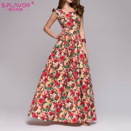 amazon printing Australia - Printing Dress Party Human Climate Amazon Sleeveless Square Flap Long Vestidos Female Sex Elegant In Spring And Summer Dress MX19070106