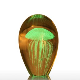 Decor Ornament Australia - Jellyfish Glass Sculpture Crafts Art Figurines Tooarts Ornament Craft Articles Transparent Modern Handcrafts Weddings Home Decor Gift