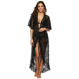 Woman Swimsuit Cover Australia - Women Beach Bikini Cover Ups irregular ruffled loose perspective lace crochet Cardigan blouse bathing suit swimwear summer sexy Swimsuit