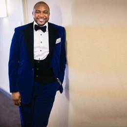 $enCountryForm.capitalKeyWord Australia - New Fashion For Black Brothers Groomsmen Velveteen Groom Tuxedos Men Suits Wedding Prom Dinner Best Man Blazer(Jacket+Pants+Tie+Vest)