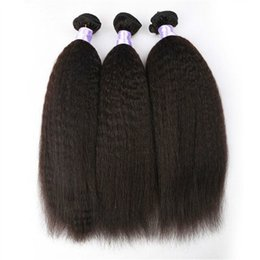 brazilian human hair for weaving Australia - Kinky Straight Hair Bundles For African Black Women 8-30inch Cheap Human Hair Weave Hairs Wefts 3pcs