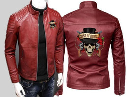ingrosso rose dell'anca-Moda Uomo Locomotive Guns N Roses Giacca in pelle Moto Cardigan con zip Manica lunga Sport Rock Band Hip Hop in pelle