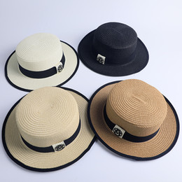 Sun hat cap Straw online shopping - M Letter Flat Top Hat Fashion Woman Stingy Brim Straw Cap Summer Outdoor Lady Travel Beach Shade Sunscreen Hat TTA893