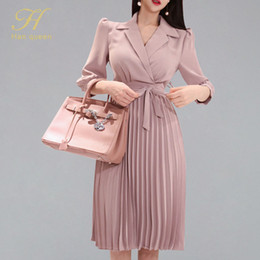 Wholesale rayon work dresses for sale – plus size H Han Queen Women s New Notched Neck Pleated Dress Draped Lace Up Bow A line Dresses OL Elegant Work Wear Business Vestidos Y200120