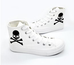 $enCountryForm.capitalKeyWord Australia - New Fashion Sneakers Black Skull Head Casual Canvas Shoes White Breathable Women's Sneakers High Top 2019 Platform Shoes