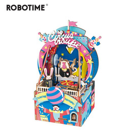 amusement games Australia - Robotime DIY 3D Amusement Park Wooden Puzzle Game Assembly Moveable Music Box Toy Gift for Children Kids Adult AMD41 Y200317