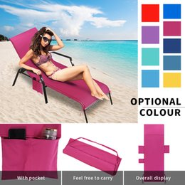 Discount chair pockets - 214.5*75cm Holiday Beach Lounge Chair Cover Towel Summer Cool Bed Garden Beach Towel Sunbath Lounger Chair Mat With Larg