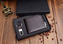 $enCountryForm.capitalKeyWord Australia - Nice Fashion Brand Men Wallet Genuine Leather Solid Color Short Paragraph Men Purse Wallet Cowhide Leather Money Clip Purse+key Chain