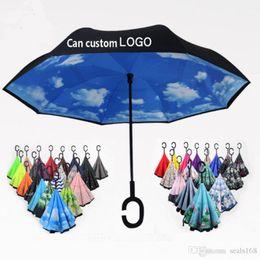 $enCountryForm.capitalKeyWord Australia - 56 Styles Folding Reverse Umbrella Double Layer C Handle Umbrellas Unisex Inverted Long Handle Windproof Rain Car Umbrellas Gifts HH7-1950