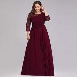 $enCountryForm.capitalKeyWord Australia - Bride Mother Dress Plus Size Evening Party Gowns 2019 Elegant Lace A-line Chiffon Long Sleeve O-neck Mother Of The Bride Dresses Y19072901