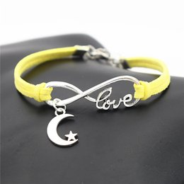 $enCountryForm.capitalKeyWord Australia - Silve Color Infinity Love Elegant Star and Moon Charm Bracelet & Bangles For Female Male Yellow Leather Suede Cuff Jewelry for Blessing Gift